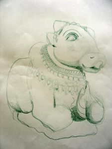 pencil drawing of the bull Nandi, companion of Shiva