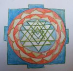 watercolour drawing of a sri yantra