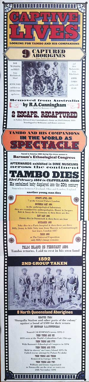 poster for the exhibition 'Captive lives: Looking for Tambo and his companions'