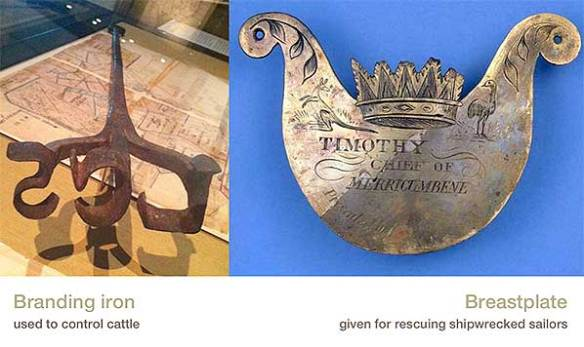Composite image of a branding iron and a breastplate given to an Aboriginal man