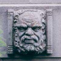 Stone head at the Australian War Memorial