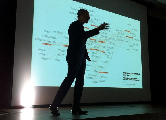 Glenn Lowry presenting a slide showing the network diagram MoMA  made for its 2012 exhibition, Inventing Abstraction