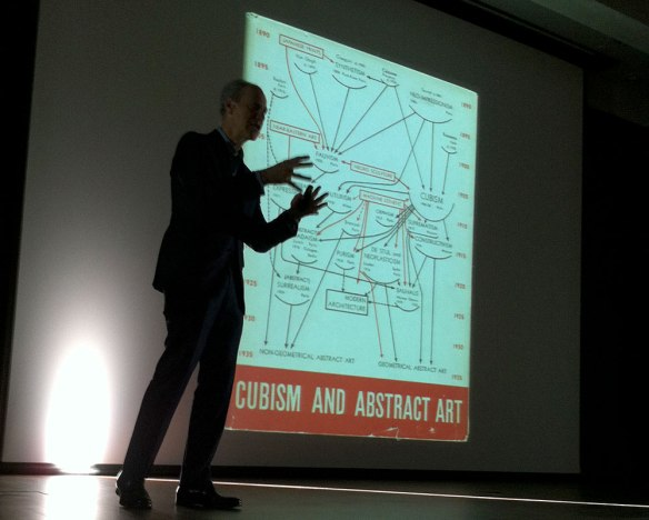 Glenn Lowry showing a slide on cubism and abstract art
